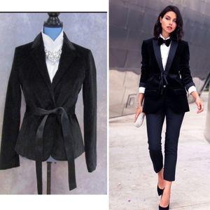 GAP Women's Black Velvet Blazer Jacket Tie Belt 8